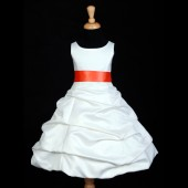 Ivory/Orange Satin Pick-Up Bubble Flower Girl Dress V2 806S