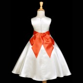 Ivory/Orange A-Line Satin Flower Girl Dress Pageant Reception 821S