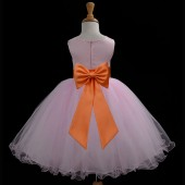Pink/Orange Tulle Rattail Edge Flower Girl Dress Fairy Princess 829T