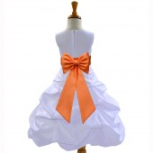 White/Orange Satin Pick-Up Bubble Flower Girl Dress Wedding 808T