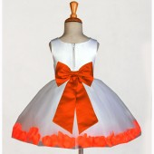 White/Orange Rose Petals Tulle Flower Girl Dress Wedding 305T