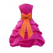 Fuchsia/Orange Satin Pick-Up Bubble Flower Girl Dress Christmas Easter 808T