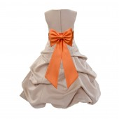 Champagne/Orange Satin Pick-Up Bubble Flower Girl Dress Special Occasion 808T