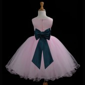 Pink/Peacock Tulle Rattail Edge Flower Girl Dress Fairy Princess 829T