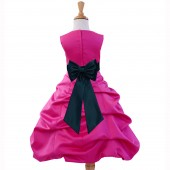 Fuchsia/Peacock Satin Pick-Up Bubble Flower Girl Dress Elegant 808T