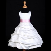 Ivory/Pink Satin Pick-Up Bubble Flower Girl Dress V2 806S