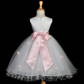 Pink Butterflies Tulle Flower Girl Dress Elegant Pageant 509S