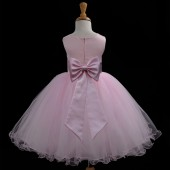 Pink/Pink Tulle Rattail Edge Flower Girl Dress Fairy Princess 829T