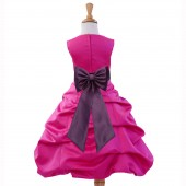 Fuchsia/Plum Satin Pick-Up Bubble Flower Girl Dress Elegant 808T