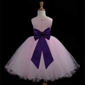 Pink/Plum Tulle Rattail Edge Flower Girl Dress Fairy Princess 829T