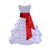 White/Apple Red Satin Pick-Up Bubble Flower Girl Dress V2 806S