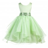 Apple Green Asymmetric Ruffled Organza Sequin Flower Girl Dress 012S