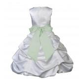 White/Apple Green Satin Pick-Up Bubble Flower Girl Dress V2 806S