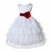White/Apple Red Satin Shimmering Organza Flower Girl Dress Pageant 308T