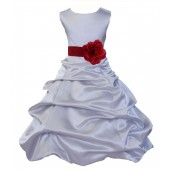 Silver/Apple Red Satin Pick-Up Bubble Flower Girl Dress Stylish 808T