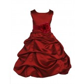 Apple Red Matching Satin Pick-Up Bubble Flower Girl Dress 808T