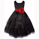 Black/Apple Red Satin Bodice Organza Skirt Flower Girl Dress 841T