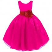 Fuchsia/Apple Red Satin Bodice Organza Skirt Flower Girl Dress 841T