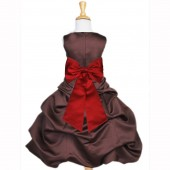 Brown/Apple Red Satin Pick-Up Bubble Flower Girl Dress Occasions 808T