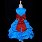 Turquoise/Apple Red Satin-Pick-Up Bubble Flower Girl Dress Recital 808T