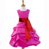 Fuchsia/Apple Red Satin Pick-Up Bubble Flower Girl Dress V2 806S
