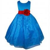 Royal Blue/Apple Red Satin Bodice Organza Skirt Flower Girl Dress 841T