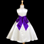Ivory/Purple A-Line Satin Flower Girl Dress Pageant Reception 821S