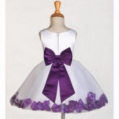 White/Purple Rose Petals Tulle Flower Girl Dress Wedding 305T