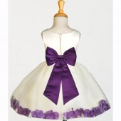 Ivory/Purple Rose Petals Tulle Flower Girl Dress Pageant 305T