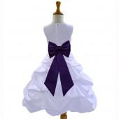 White/Purple Satin Pick-Up Bubble Flower Girl Dress Wedding 808T
