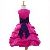 Fuchsia/Purple Satin Pick-Up Bubble Flower Girl Dress Elegant 808T