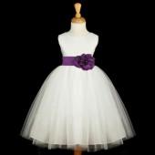 White/Purple Satin Tulle Flower Girl Dress Wedding Pageant 831S