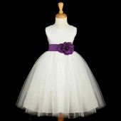 Ivory/Purple Satin Tulle Flower Girl Dress Wedding Pageant 831S