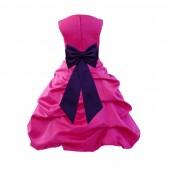 Fuchsia/Purple Satin Pick-Up Bubble Flower Girl Dress Christmas Easter 808T