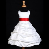 Ivory/Red Satin Pick-Up Bubble Flower Girl Dress V2 806S