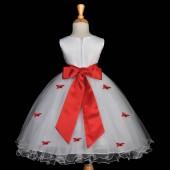 Red Butterflies Tulle Flower Girl Dress Elegant Pageant 509S