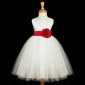 White/Red Satin Tulle Flower Girl Dress Wedding Pageant 831S
