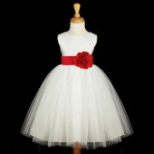Ivory/Red Satin Tulle Flower Girl Dress Wedding Pageant 831S