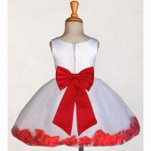 White/Red Rose Petals Tulle Flower Girl Dress Wedding 305T