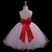 Pink/Red Tulle Rattail Edge Flower Girl Dress Fairy Princess 829T