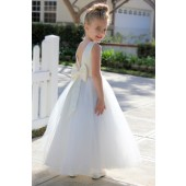 Ivory / Ivory V-Back Lace Edge Flower Girl Dress 183T