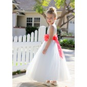 Ivory / Coral V-Back Lace Edge Flower Girl Dress 183T