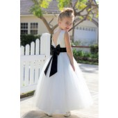 Ivory / Black V-Back Lace Edge Flower Girl Dress 183T