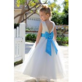 Ivory / Turquoise V-Back Lace Edge Flower Girl Dress 183T