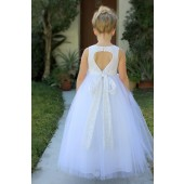 White Floral Lace Heart Cutout Flower Girl Dress 172