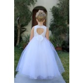 White Floral Lace Heart Cutout Flower Girl Dress with Flower 172F