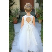 Ivory Floral Lace Heart Cutout Flower Girl Dress 172