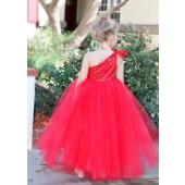 Red One-Shoulder Sequins Tutu Flower Girl Dress 182