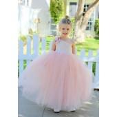Blush Pink One-Shoulder Sequins Tutu Flower Girl Dress 182