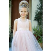 Blush Pink Sweetheart Neck Crossed Straps A-Line Flower Girl Dress 173